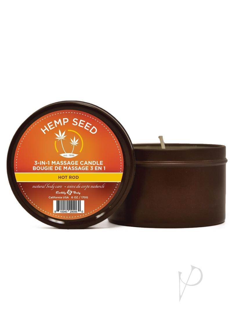 Earthly Body Hemp Seed 3 In 1 Massage Candle - Hot Rod 6oz